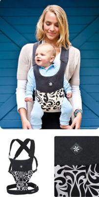 Black and White Damask Belle Front Carry Position Baby Carrier