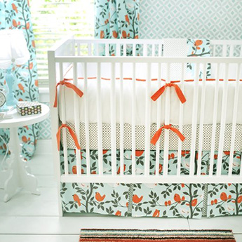 Turquoise blue and white bird theme nursery ideas and crib set
