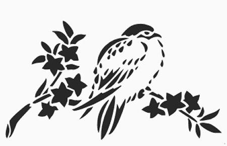 Printable bird on a branch stencil chickadee wall stencil pattern design