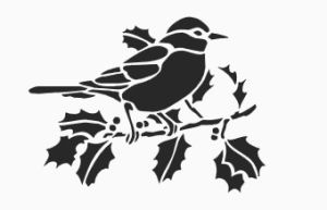 Printable bird on a branch stencil with holly berries leaves Christmas wall stencil pattern design
