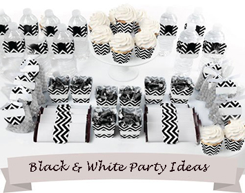 Black and white chevron stripes baby shower dessert table ideas with cupcakes
