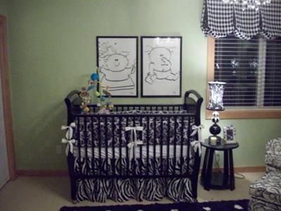 Black and White Nursery Ideas for Twins incl Original Artwork, Sage Green Wall Paint, Black and White Stripes, Polka Dots and a Harlequin Pattern Window Valance