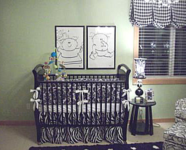 Black white and sage green boy girl nursery for twins