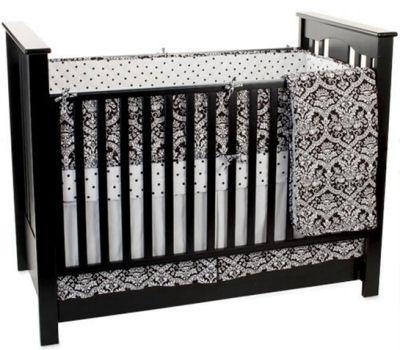 black and white baby nursery crib bedding set damask print polka dots crib sheet curtains