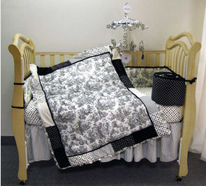 black toile baby nursery crib bedding set custom waverly