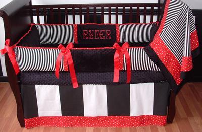 Custom black white and red baby crib bedding and nursery decor