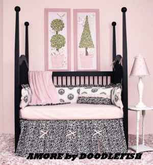 black toile baby bedding pink white crib sets nursery unisex gender neutral baby boy girl modern contemporary
