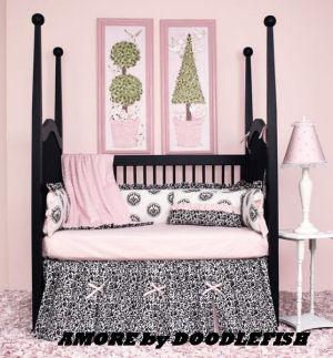 black toile baby bedding pink white crib sets nursery unisex gender neutral baby boy girl modern contemporary
