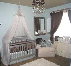 Chocolate brown and baby blue boy nursery with canopy crib