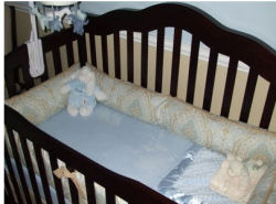 blue and brown damask paisley baby crib bedding nursery pictures boy set