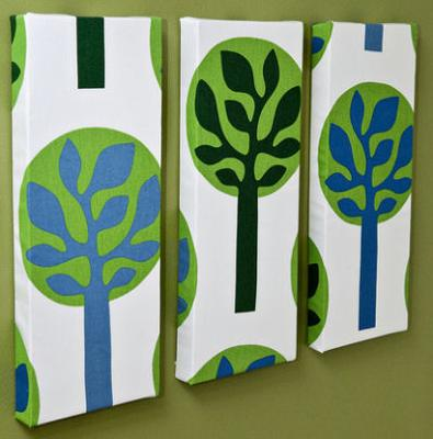 Baby Boy's Blue and Green Nursery Wall Decorations Made from Ikea Fabrics