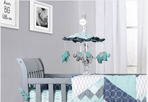 Navy blue turquoise blue and white elephant baby nursery set and crib mobile