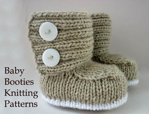 Easy quick fast baby booties knitting pattern with large two buttons closure