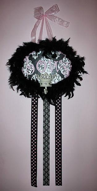 bow holder damask pink white and black princess crown polka dots