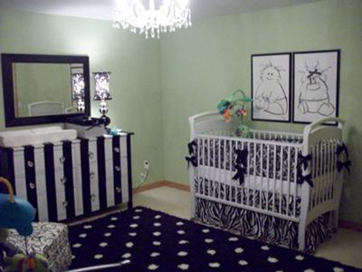 Boy and Girl Twin Nursery Ideas incl. Black and White Polka Dots, Stripes and Lovely Sage Green Nursery Walls Decorated with Original Artwork