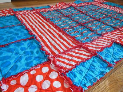 Dr Seuss baby crib quilt made by mom for her baby boy's Cat in the Hat Nursery