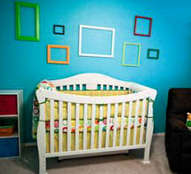 Bright colorful modern gender neutral baby nursery design with craft ideas for wall decorations