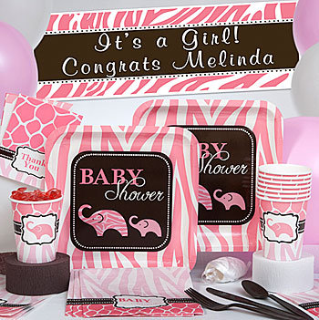 Brown and pink baby shower decorations with zebra print, giraffe print and elephant graphics for a baby girl.