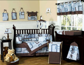 modern turquoise teal blue and chocolate brown baby bedding boy girl neutral