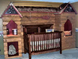 Rustic log cabin hunting and fishing theme nursery décor for a baby boy room