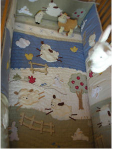 little lamb and bunny rabbit baby nursery theme crib quilt applique appliqued pattern