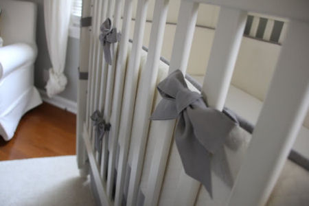 Baby boy crib bedding set sewed by Grandmother from light gray duck cloth and soft cream color quilted decorator's fabric