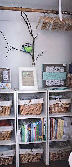 Woven baskets lined and decorated with burlap