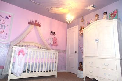 Princess Crib in our Baby Girls' Butterfly Princess Baby Dream Nursery Room
