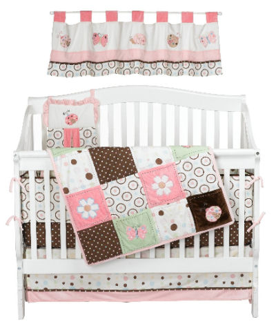Nojo pink and brown ladybug and butterfly baby bedding nursery crib set mobile fitted sheets and skirt with polka dots and quilt applique
