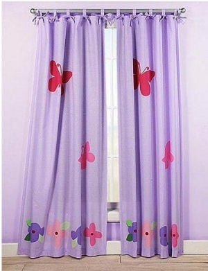 Kids pink and lavender purple tab tie top floor length butterfly curtains for a baby girl nursery room
