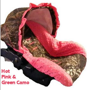 Mossy Oak Realtree Camo Baby Car Seat Cover with hot pink minky fabric for an infant girl