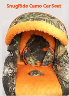 Mossy Oak and Realtree camouflage baby car seat with hunter blaze orange fabric cover accents
