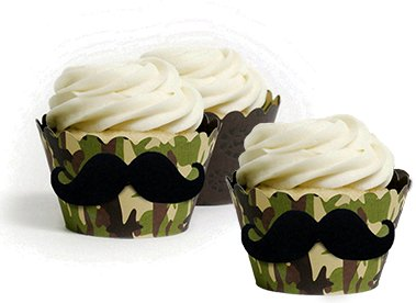 Camo baby shower cupcakes for boys with an added mustache theme camouflage liner