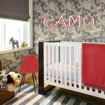 Baby boy nursery with camouflage nursery wallpaper red baby bedding and furniture