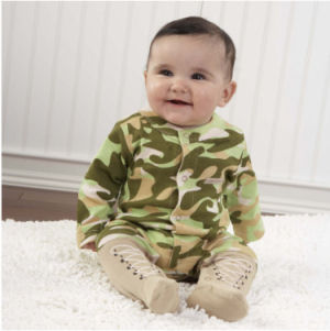 Mossy Oak Realtree camo baby clothes in green camouflage fabric