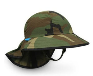 Camo baby sun hat with brim in camouflage print fabric