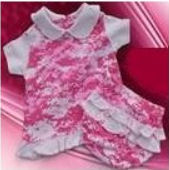 Pink camo baby dress with matching ruffled diaper cover in camouflage print fabric