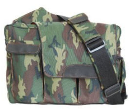 Camo baby diaper bag in green camouflage fabric with shoulder strap for dad