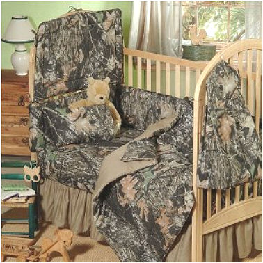 Mossy Oak camouflage baby bedding set with camo fitted crib sheet and bumper pad