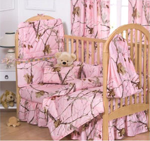 Pink mossy Oak baby girl pink crib bedding set