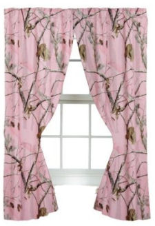 Realtree Pink Camouflage curtains with tiebacks for the curtain panels