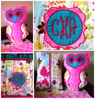 Personalized custom pink owl baby crib bedding set for a baby girl nursery room theme