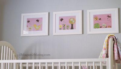 Baby girl nursery wall art prints with butterflies birds ladybugs flowers dragonflies snails and trees in wide white frames