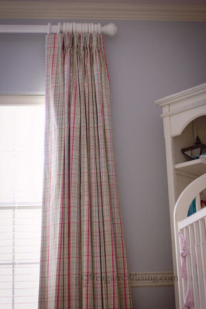 Pink blue and white plaid floor length nursery curtains
