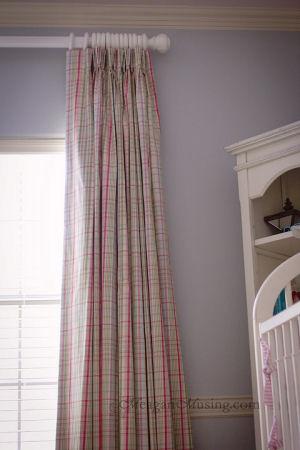 Pink blue and white plaid floor length nursery curtains