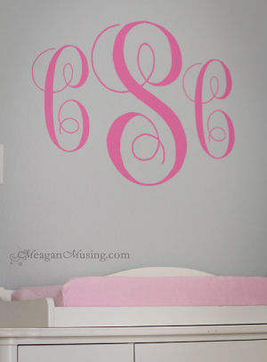Caroline Claire's elegant pink monogram decal for her nursery wall