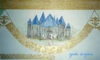 Royal prince castle mural for a baby boy nursery room theme