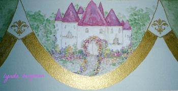 Pink fairytale princess castle mural for a baby girl nursery room theme
