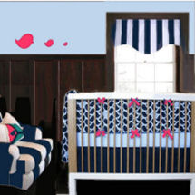White pink and navy blue baby nursery crib bedding set with striped window valance and upholstered chair with baby chicks bird theme