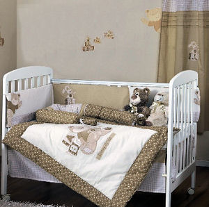 Baby girl brown nursery crib bedding and wall decorating ideas